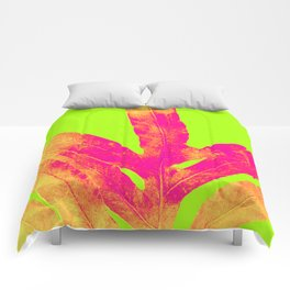 Green and Ultra Bright Coral Fern Comforters