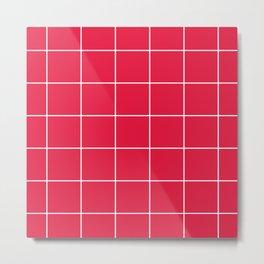 White Grid - Red BG Metal Print