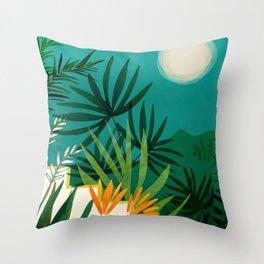 Tropical Moonlight / Tropical Night Series #1 Throw Pillow