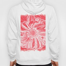 White Flower On Crayon Red Hoody