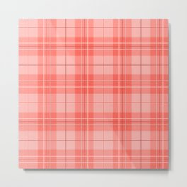 Coral Plaid Metal Print