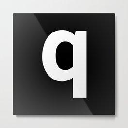 letter Q (White & Black) Metal Print