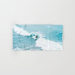 Wave Surfer Turquoise Hand & Bath Towel