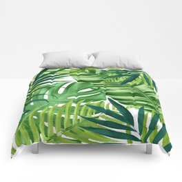 Tropical leaves III Comforters