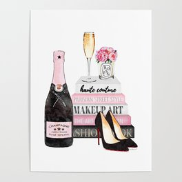 Champagne, pink, books, shoes, peonies, Peony, Fashion illustration, Fashion, Amanda Greenwood Poster