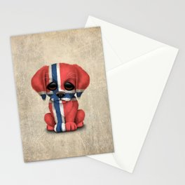 Cute Puppy Dog with flag of Norway Stationery Cards