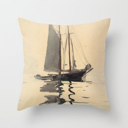 Vintage Schooner Sailboat Watercolor Painting (1894) Throw Pillow