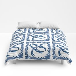 Blue and white swallows birds chinoiserie china porcelain toile asian ginger jar delft pattern Comforters