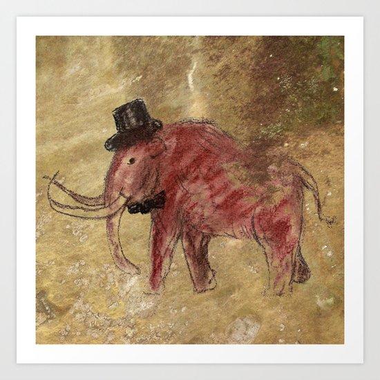 Cave art vintage mamut. Art Print