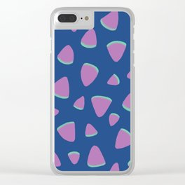 Abstract Graphic Pattern | Blue | Pink | Green Clear iPhone Case