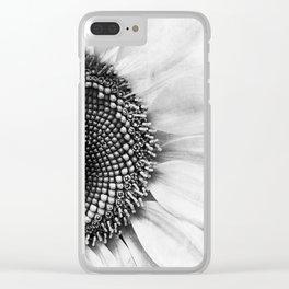 B&W Sunflower Clear iPhone Case