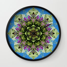 Intricate floral kaleidoscope - Vebena, Dichondra leaves with blue sky Wall Clock