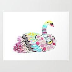 Patterned Swan Art Print