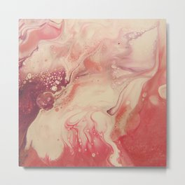 Pink Blush - Abstract Acrylic Art by Fluid Nature Metal Print