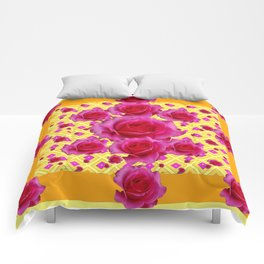 Golden Yellow Fuchsia Roses Abstract Comforters