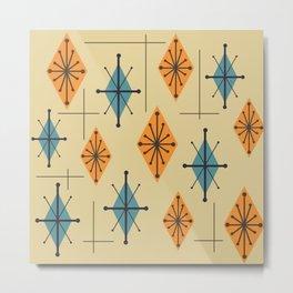 Mid Century Modern Starburst Diamonds Orange And Blue Metal Print