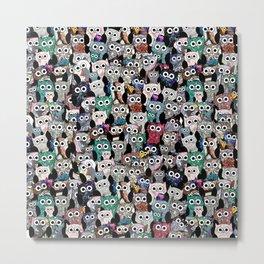 Gemstone Owls Metal Print