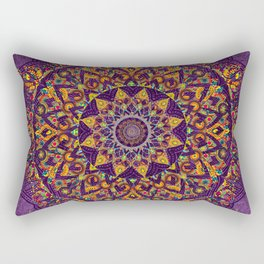 Multi-Coloured Patterned Mandala On A Purple Textured Background Rectangular Pillow