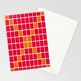 Magenta and Orange Grid Stationery Cards