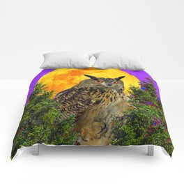 LONG-EARED OWL & MOON PANTENE PURPLE  ART DESIGN Comforters