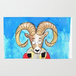 Snow Winter Bighorn Sheep Rug