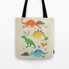 Jurassic Dinosaurs in Primary Colors Tote Bag