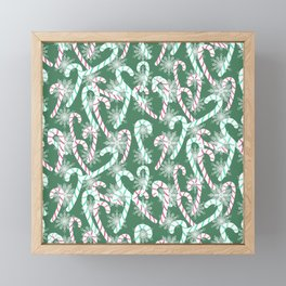 Frosty Canes Green Framed Mini Art Print
