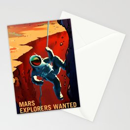 Mars Explorer Wanted Journey to Mars Colonization Recruitment Poster Stationery Cards