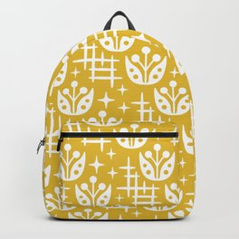 Mid Century Modern Abstract Flower Pattern 2 Mustard Yellow Backpack