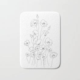 Poppy Flowers Line Art Bath Mat