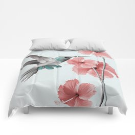 Hummingbird with Hibiscus Comforters