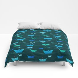 Origami paper boats Comforters