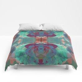 Deep in a Blue Flower Kaleidoscope Comforters