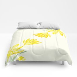 yellow botanical crocus watercolor Comforters