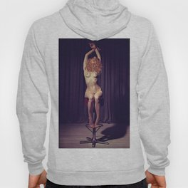 Tied up nude woman on a bar stool Hoody