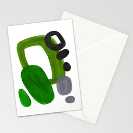 Mid Century Vintage 70's Design Abstract Minimalist Colorful Pop Art Olive Green Dark Green Grey Stationery Cards