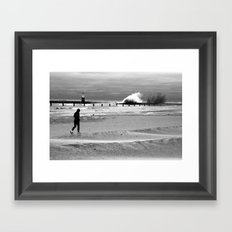 Waves on Lake Michigan in Chicago Framed Art Print