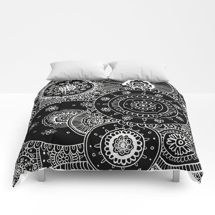 Lacy White Mandalas on Black Comforters