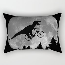 Biker t rex In Sky With Moon 80s Parody Rectangular Pillow