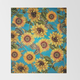 Vintage & Shabby Chic - Sunflowers on Teal Throw Blanket