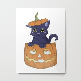 The Cat's Out O' The Jack Metal Print