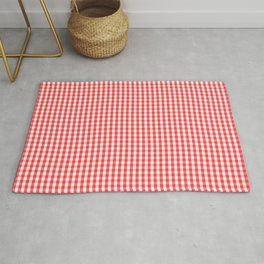 Small White and Donated Kidney Pink Halloween Gingham Check Rug