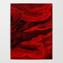 Blood Red Marble Poster