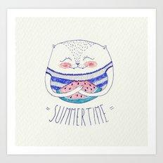 summertime cat Art Print