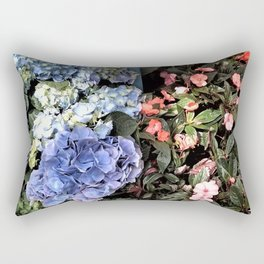 Hydrangeas and Impatiens Rectangular Pillow