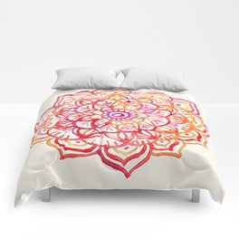 Watercolor Medallion in Sunset Colors Comforters