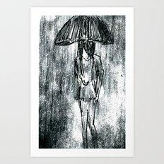 Umbrella Sketch Art Print