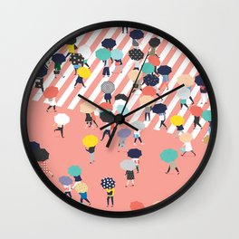 Crossing The Street On a Rainy Day Wall Clock
