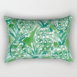 DEM PINEAPPLES Green Tropical Rectangular Pillow
