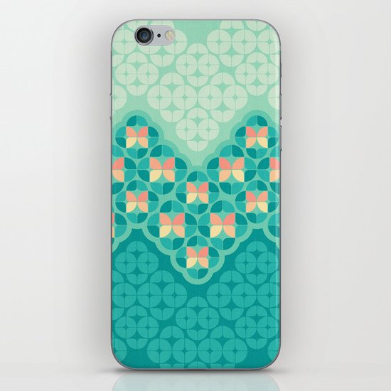 Blue Garden Pattern iPhone & iPod Skin